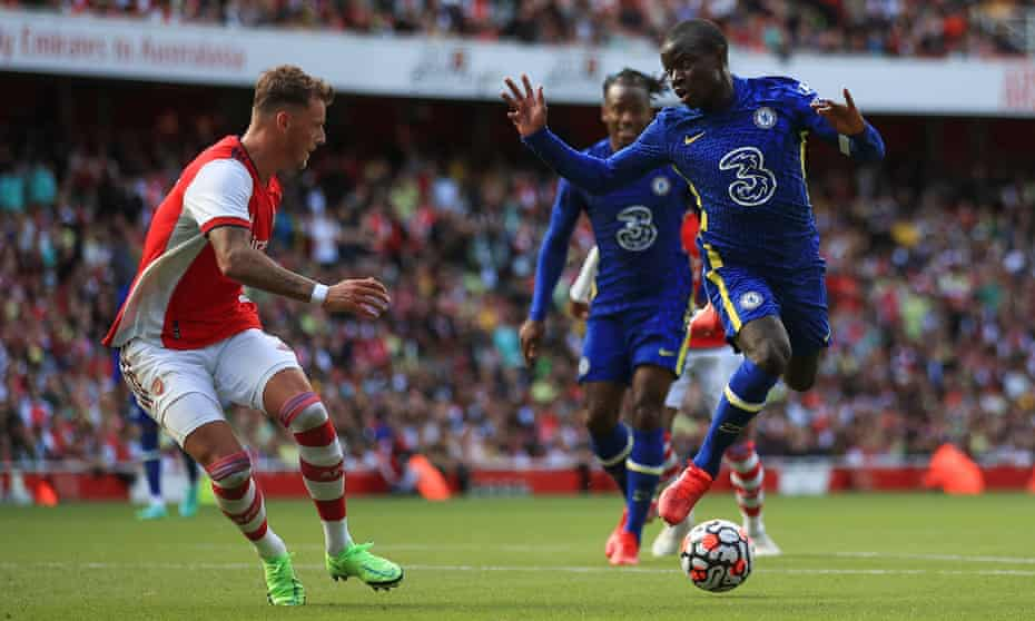 N'Golo Kanté (right) in action in the friendly against Arsenal.