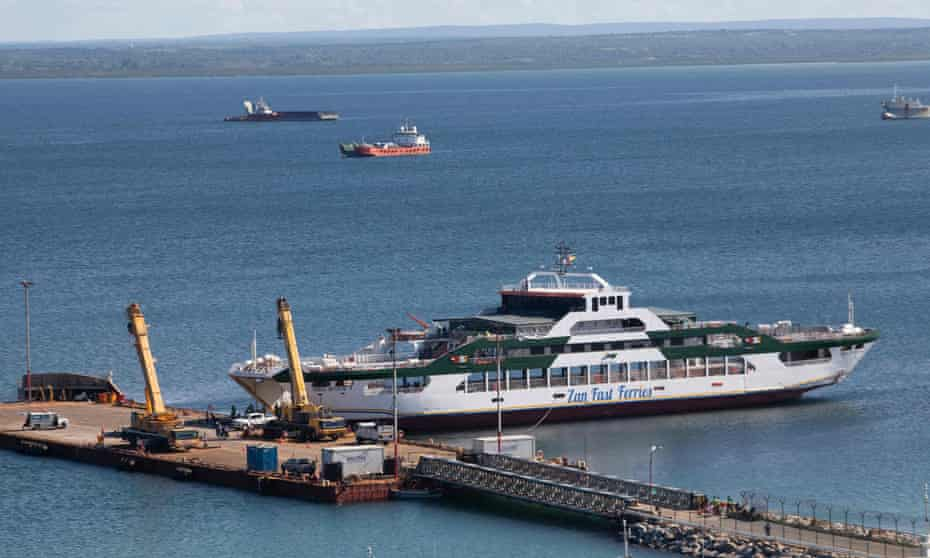 A Tanzanian-owned ferry carrying evacuees from Palma, docked in the Mozambican city of Pemba on Monday.