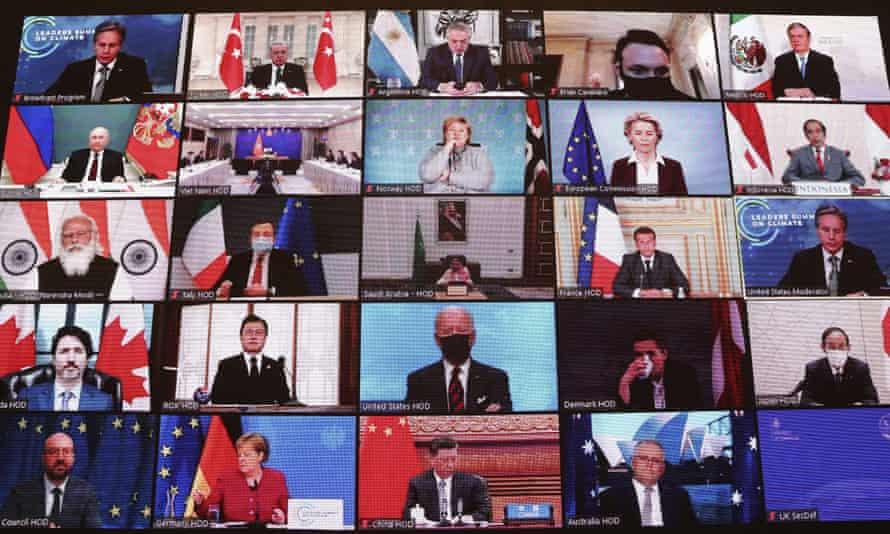 World leaders virtually attend the Leaders Summit on Climate, April 2021.