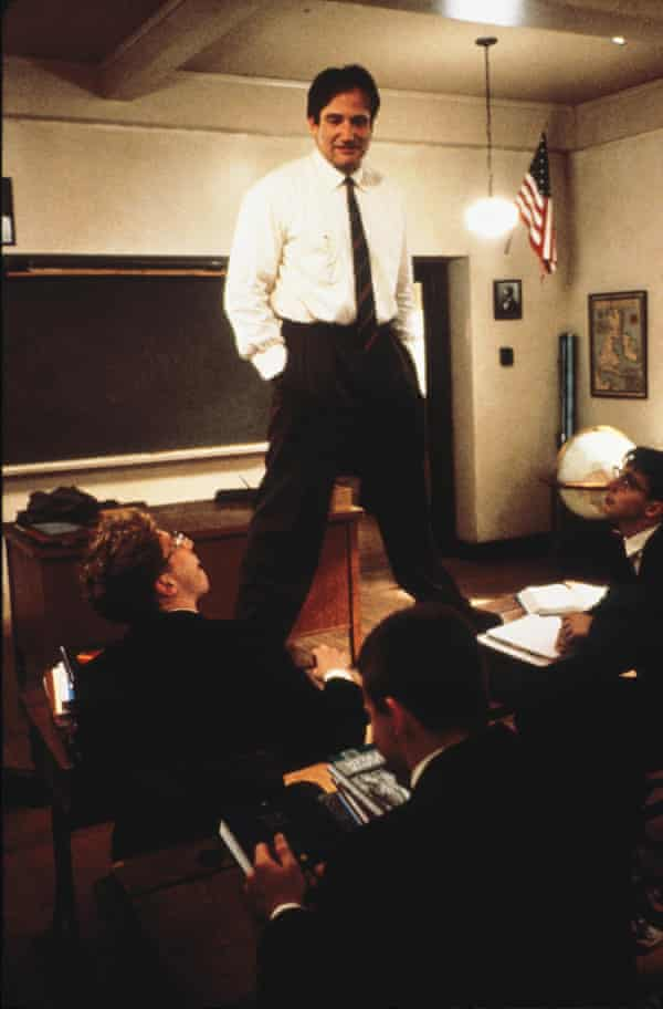 Robin Williams as the enigmatic and unconventional teacher John Keating in Dead Poets Society