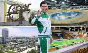 A composite of Ashgabat venues for the 5th Asian Indoor and Martial Arts Games, with Turkmen president Gurbanguly Berdymukhamedov.