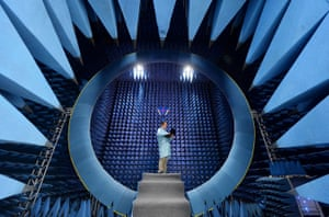Wuhan, China An employee conducts tests at an antenna at a factory in the Hubei province