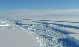 A British Antarctic Survey photo released on 25 March 2008 shows of a chunk of ice that has started to break away from the Antarctic ice shelf.