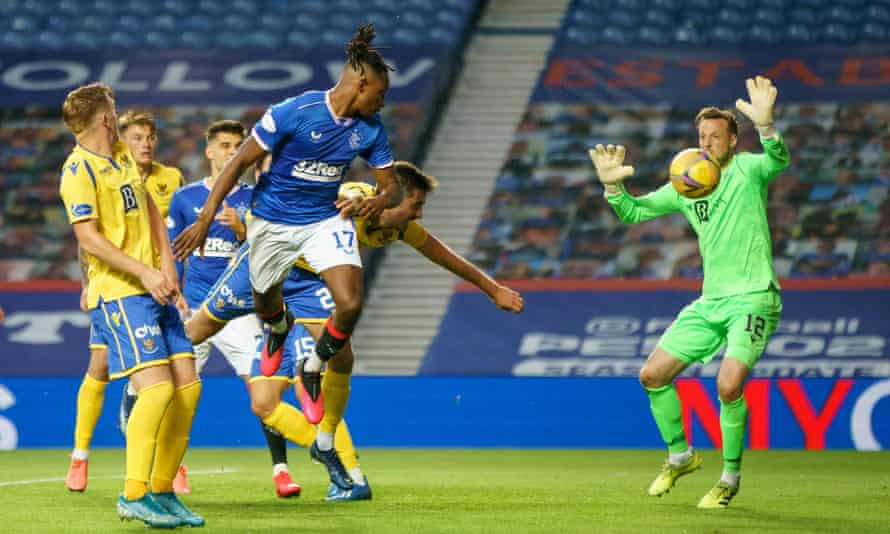 Joe Aribo scores the third goal for Rangers in the 3-0 win over St Johnstone at Ibrox.