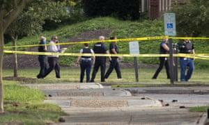 Police at the scene in Virginia Beach.