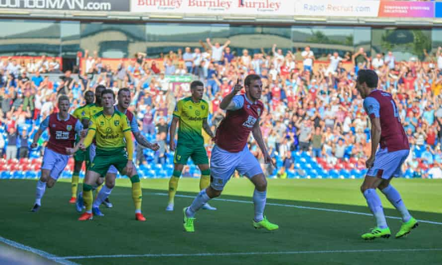 Chris Wood marks his opening goal for Burnley against Norwich City.