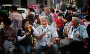 Japanese people waiting for the Akita Kanto Festival to start