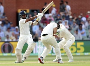India's Cheteshwar Pujara bats during the first cricket test between Australia and India in Adelaide.
