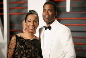 Actor Chris Rock and his mother, Rosalie Rock, arrive at the Vanity Fair Oscar Party
