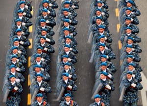 Bucharest, Romania. Soldiers on the march on Romania's National Day