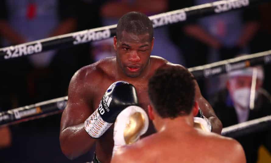 Daniel Dubois suffered an injured left eye in defeat
