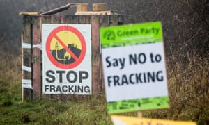 Signs at the anti-fracking camp near Kirby Misperton in Yorkshire.