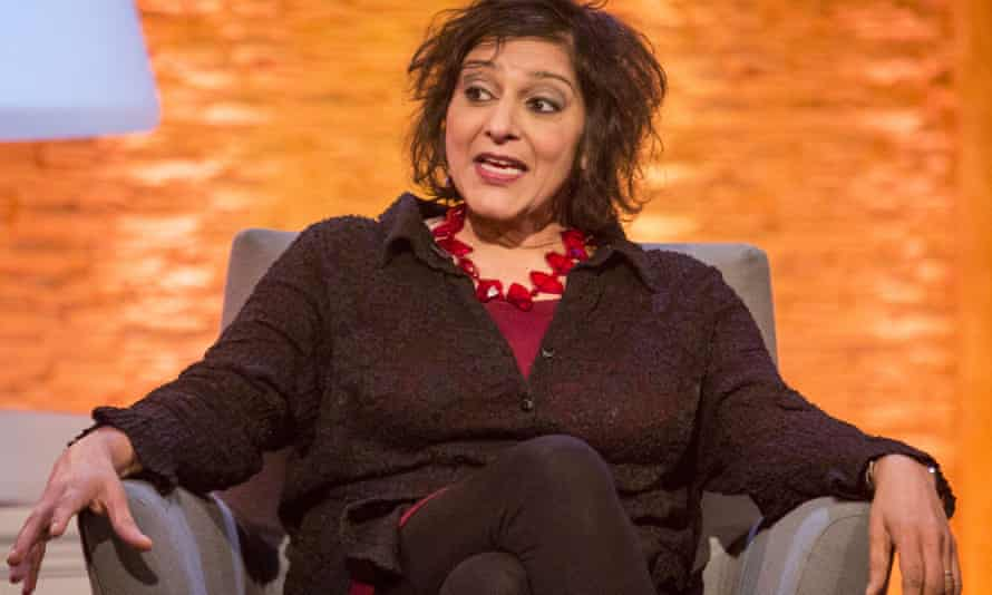 Meera Syal seated being interviewed on TV.