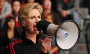 A still from Fox's Glee shows Jane Lynch as cheerleading coach Sue Sylvester.
