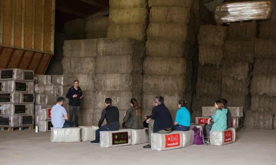 A group from Innovative Farmers listen to a talk at a hemp facility in east Yorkshire