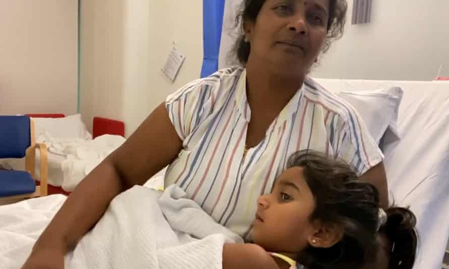 Priya and Tharnicaa, who was evacuated to a children's hospital from Christmas Island detention centre after developing pneumonia and a blood infection