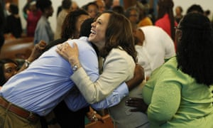 Kamala Harris meets people before a church service last year in Des Moines, Iowa.