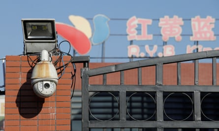 A security camera is pictured at the kindergarten run by pre-school operator RYB Education Inc being investigated by China's police.
