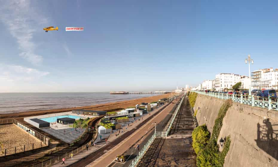 open air pool by sea and with seafront road