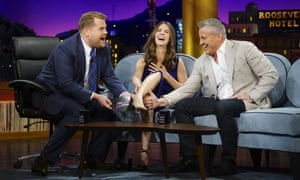 James Corden on the Late Late Show with guests Alison Brie and Matt LeBlanc.