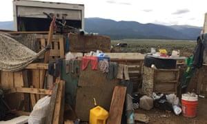 A makeshift compound in Amalia, New Mexico, where police rescued 11 children.