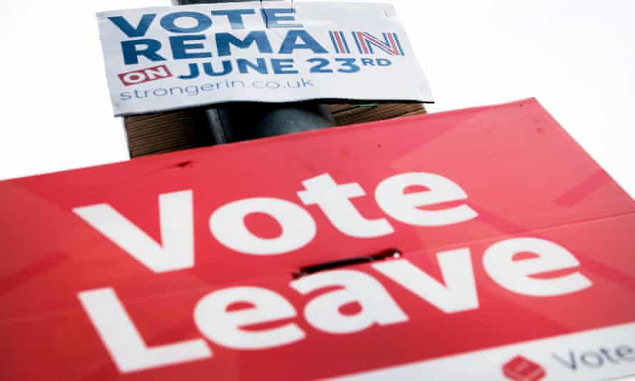 Remain and leave signs on a lamp-post in Leeds in the run-up to the EU referendum.