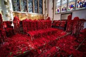 Norwich, UKA display of 15,000 knitted and crocheted poppies at St Peter Mancroft Church to mark the 100th anniversary of the end of World War One. The handmade red flowers represent the fallen soldiers. People from across the globe sent in the moving creations after a year-long campaign by Norfolk County Council.