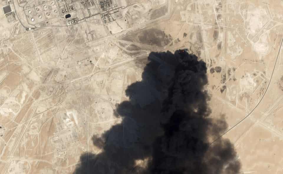 Thick black smoke billows from the Abqaiq oil processing facility in Saudi Arabia on Saturday.