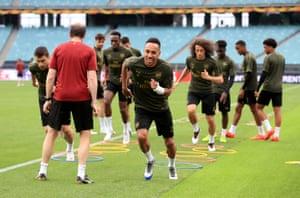 Arsenal's Pierre-Emerick Aubameyang during training.