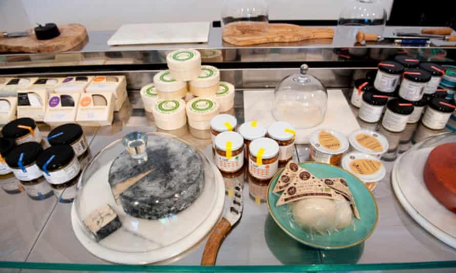 A vegan cheese display.