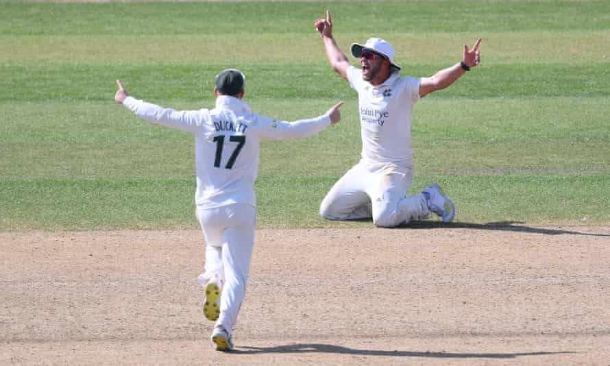Dane Paterson celebrates after taking a spectacular catch for Nottinghamshire in their win over Lancashire.