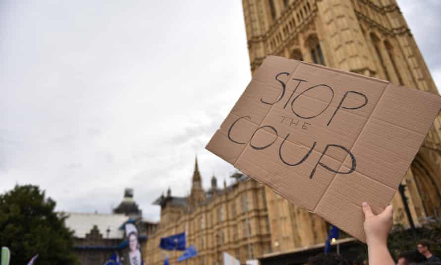 Protesters outside the Houses of Parliament.