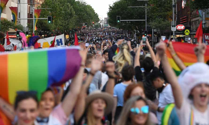 Marchers in favour of marriage equality in Sydney