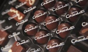 A box of Hotel Chocolat luxury handmade chocolates.