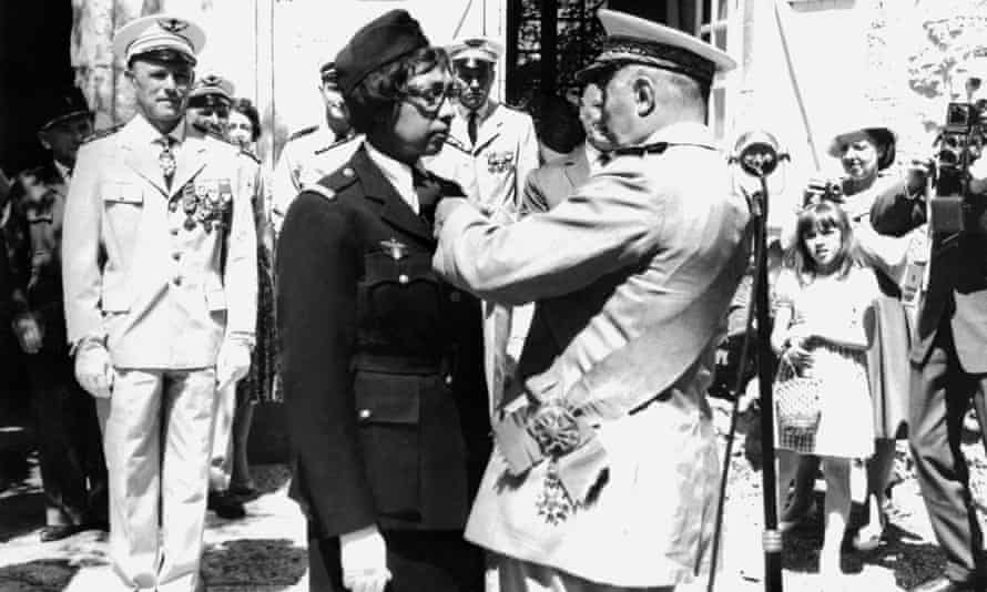 Franco-American entertainer Josephine Baker receiving the Légion d'honneur and the Croix de Guerre after the second world war.