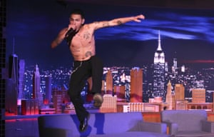 Slowthai performs on Jimmy Fallon's The Tonight Show in February 2020.