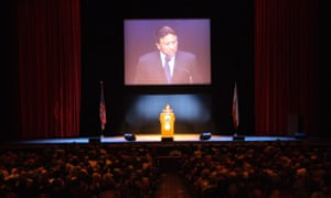 Pakistani politician Pervez Musharraf giving a lecture in Oakland, California.
