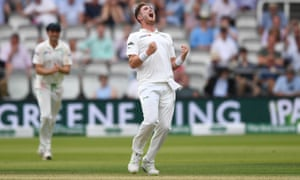 Mark Adair of Ireland celebrates dismissing England captain Joe Root.
