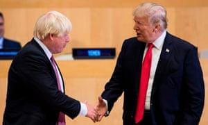 Boris Johnson (L) and US President Donald Trump at UN headquarters in New York in 2017