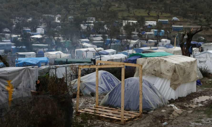 A temporary refugee camp on Lesbos, Greece: 'The government keeps announcing unrealistic plans, such as the creation of a floating barrier in the Aegean sea.'