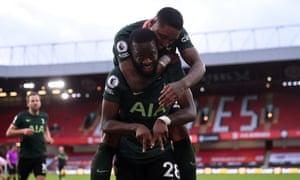 Tanguy Ndombele celebrates scoring the third goal for Tottenham.