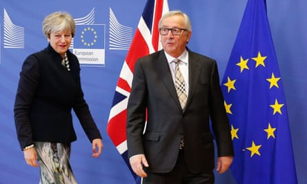 Theresa May and Jean-Claude Juncker, the EU commission president, in Brussels today. 'The Brexit promised by May is almost certainly off the table.'