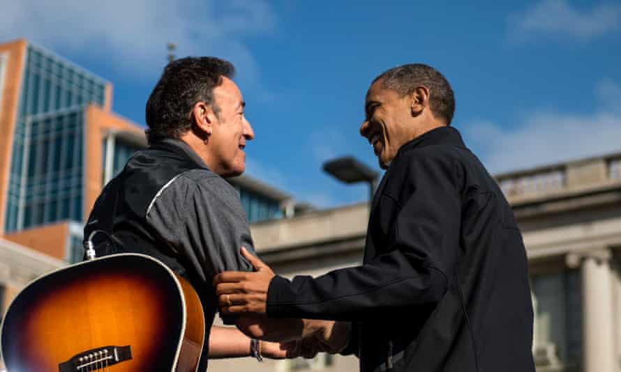 President Obama and Bruce Springsteen share a moment during Obama's campaign stop in Madison, Wisconsin, November 2012.