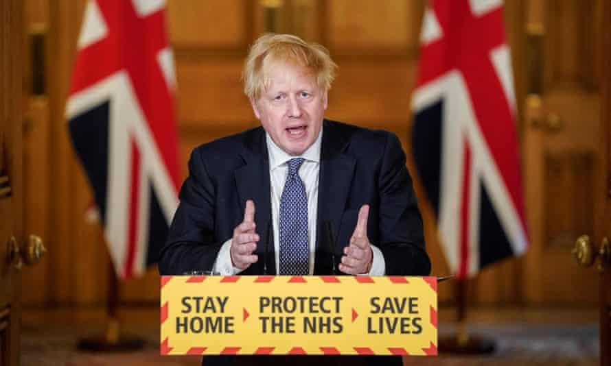 Boris Johnson at the lectern at 10 Downing Street