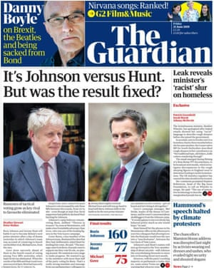 The Guardian front page on 21 June