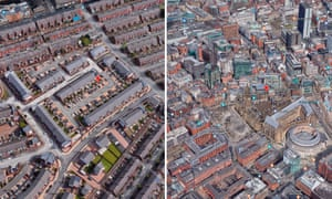 The geometric and traditional centres of Manchester. Trautmann Close in a new development (left) and Albert Square (right)