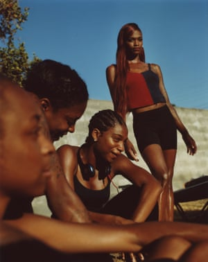 Kaelyn and the Girls from the series Freres d'une Ile Pas Tres Proche (2018) Twins Jalan and Jibril Durimel are interested in photographing the black diaspora in a graceful, romantic way, often at one with the natural environment. A vital part of their practice has been street casting and, instead of documenting, they orchestrate theatrical images reminiscent of a play or movie.