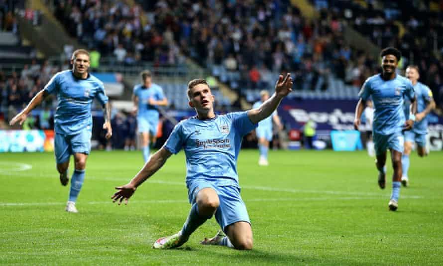 Viktor Gyökeres celebrates his second goal against Peterborough.