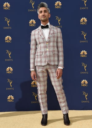 'I push myself to look different': Tan France wears a Thom Brown suit to the Primetime Emmy awards, 2018.