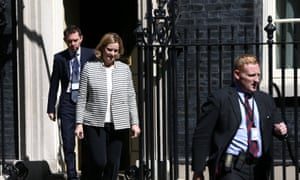 Amber Rudd leaving No 10 after a Cobra meeting this morning.